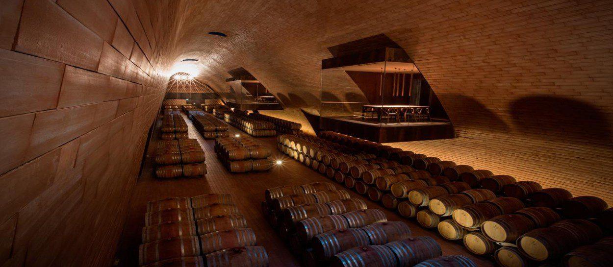 Inside wine cellars in Chianti
